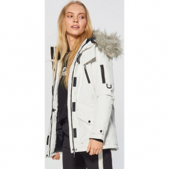 Zimowa kurtka z kapturem - Biały. Brązowe kurtki damskie zimowe marki QUECHUA, m, z materiału. Za 269,99 zł.