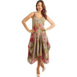 Sukienki: Lniana sukienka w kolorze szarobrązowo-czerwono-zielonym