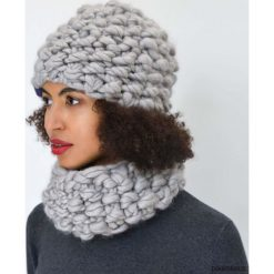 Czapki zimowe damskie: Komplet szara czapka i komin z wełny merynosów