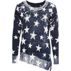 Sweter z asymetryczną linią dołu bonprix ciemnoniebiesko-biały wzorzysty. Szare swetry klasyczne damskie marki Mohito, l, z asymetrycznym kołnierzem. Za 109,99 zł.