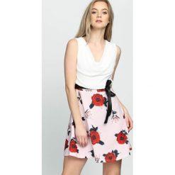 Różowo-Bordowa Sukienka Simpler. Różowe sukienki mini marki numoco, l, z dekoltem w łódkę, oversize. Za 34,99 zł.