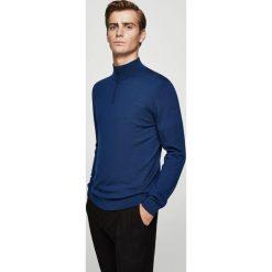 Mango Man - Sweter Willyp. Niebieskie swetry klasyczne męskie Mango Man, l, z dzianiny, z golfem. W wyprzedaży za 99,90 zł.