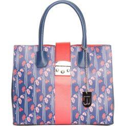 Torebki klasyczne damskie: Skórzana torebka w kolorze niebiesko-czerwonym – 40 x 32 x 14 cm