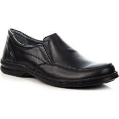 Derby męskie: Czarne półbuty męskie skórzane komfortowe Helios 871