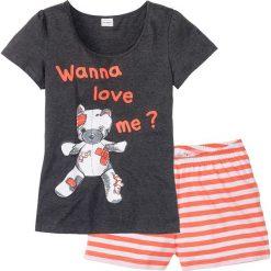 Piżamy damskie: Piżama bonprix antracytowy z nadrukiem