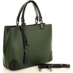 Kuferki damskie: Torebka italian bag kuferek skóra MARCO MAZZINI - zielona z czarnym