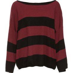 """Swetry oversize damskie: Sweter oversize """"boxy"""" bonprix czarno-czerwony klonowy"""
