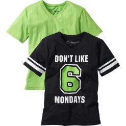 Odzież chłopięca: T-shirt (2 szt.) bonprix czarno-jaskrawy zielony