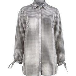 Bluzki damskie: Bluzka bawełniana z ozdobnym wiązaniem, długi rękaw bonprix szaro-biel wełny w paski