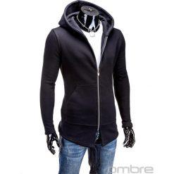 BLUZA MĘSKA ROZPINANA Z KAPTUREM B326 - CZARNA. Czarne bluzy męskie rozpinane marki Ombre Clothing, m, z bawełny, z kapturem. Za 75,00 zł.
