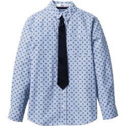 Koszule chłopięce: Koszula z krawatem bonprix biało-niebieski w paski