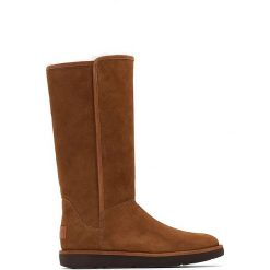 Kozaki skórzane. Szare buty zimowe damskie marki Ugg, z materiału, z okrągłym noskiem. Za 1381,80 zł.