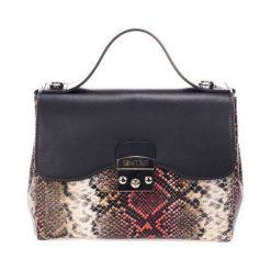 Torebki klasyczne damskie: Skórzana torebka w kolorze czarno-czerwonym – (S)28 x (W)29 x (G)15 cm