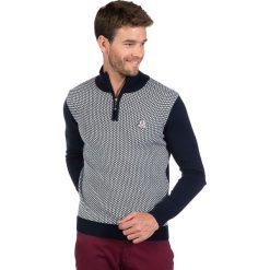 Golfy męskie: Sweter w kolorze granatowo-szarym