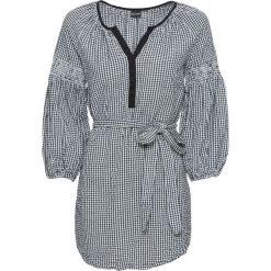 Długa tunika bonprix czarno-biały w kratę. Białe tuniki damskie z długim rękawem bonprix. Za 79,99 zł.