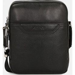 Czarna torba przez ramię. Czarne torby na ramię męskie Kazar, w paski, ze skóry, przez ramię, małe. Za 449,00 zł.