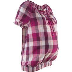Tunika ciążowa z bawełny bonprix lila w kratę. Czarne bluzki ciążowe marki Odzież ciążowa, xl, z nadrukiem, z okrągłym kołnierzem, moda ciążowa. Za 32,99 zł.