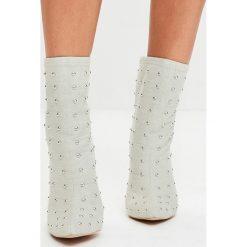 Missguided - Botki. Szare buty zimowe damskie marki Missguided, z materiału, na obcasie. W wyprzedaży za 149,90 zł.