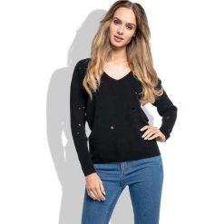 Swetry klasyczne damskie: Czarny Klasyczny Sweter z Dekoltem w Szpic z Dziurami