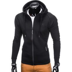 BLUZA MĘSKA ROZPINANA Z KAPTUREM B741 - CZARNA. Czarne bluzy męskie rozpinane marki Ombre Clothing, m, z bawełny, z kapturem. Za 69,00 zł.