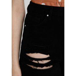 Bermudy damskie: Missguided Petite HIGH WAISTED SHREDDED Szorty jeansowe black