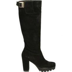 Kozaki - B195 VEL NERO. Czarne buty zimowe damskie marki Kazar, z futra, przed kolano, na wysokim obcasie, na koturnie. Za 299,00 zł.