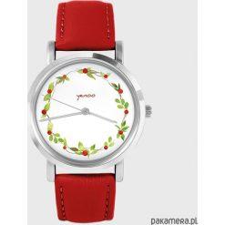 Zegarki damskie: Zegarek - Wianek, dzika róża - skóra, czerwony