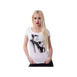 T-shirt Diabeł na szpilkach. Białe t-shirty damskie marki Piekuo, m, z nadrukiem, ze skóry. Za 39,00 zł.