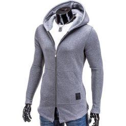 Bluzy męskie: BLUZA MĘSKA ROZPINANA Z KAPTUREM B326 – SZARA