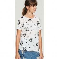 T-shirt w pandy - Biały. Białe t-shirty damskie Sinsay, l. Za 24,99 zł.