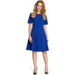 Wizytowa Chabrowa Sukienka z Rozkloszowanym Dołem. Niebieskie sukienki koktajlowe marki Molly.pl, do pracy, l, z tkaniny, z krótkim rękawem, mini, proste. Za 109,90 zł.