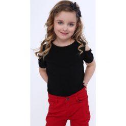 T-shirty dziewczęce: Koszulka dziewczęca z wyciętymi ramionami czarna NDZ8529