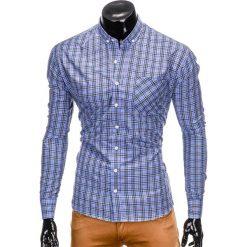 KOSZULA MĘSKA W KRATĘ Z DŁUGIM RĘKAWEM K394 - BŁĘKITNA. Brązowe koszule męskie na spinki marki Ombre Clothing, m, z aplikacjami, z kontrastowym kołnierzykiem, z długim rękawem. Za 69,00 zł.