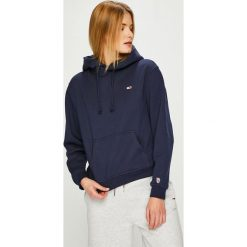 Tommy Jeans - Bluza. Szare bluzy rozpinane damskie Tommy Jeans, l, z bawełny, z kapturem. Za 359,90 zł.