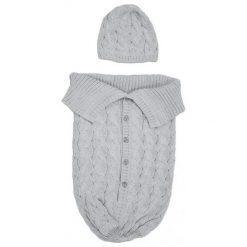 EKO Śpiworek Cocoon Z Czapeczką. Szare czapeczki niemowlęce EKO, z bawełny. Za 75,00 zł.