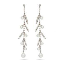 Kolczyki damskie: Kolczyki-wkrętki z perłami muszlowymi i cyrkoniami