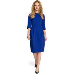 SYDNEY Sukienka z zakładkami - chabrowa. Niebieskie sukienki balowe Moe, do pracy, z klasycznym kołnierzykiem, midi, dopasowane. Za 139,99 zł.