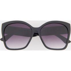 Okulary przeciwsłoneczne - Czarny. Białe okulary przeciwsłoneczne damskie lenonki marki Reserved, l, z dzianiny. Za 39,99 zł.