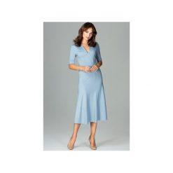 Sukienka K478 Niebieski. Niebieskie sukienki na komunię marki Lenitif, xl, dekolt w kształcie v. Za 179,00 zł.