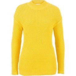 Swetry klasyczne damskie: Sweter ze stójką i strukturalnym wzorem bonprix żółty kukurydziany