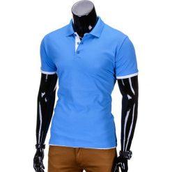KOSZULKA MĘSKA POLO BEZ NADRUKU S758 - BŁĘKITNA. Niebieskie koszulki polo Ombre Clothing, m, z nadrukiem. Za 39,00 zł.