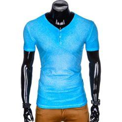 T-SHIRT MĘSKI BEZ NADRUKU S894 - BŁĘKITNY. Czarne t-shirty męskie z nadrukiem marki Ombre Clothing, m, z bawełny, z kapturem. Za 39,00 zł.