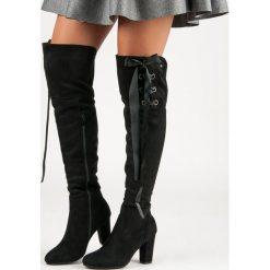 Buty zimowe damskie: Czarne zamszowe muszkieterki KINSLEY