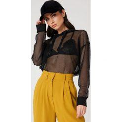 Bluzy rozpinane damskie: Rut&Circle Siateczkowa bluza oversize z kapturem - Black