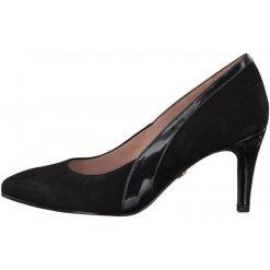 Tamaris Czółenka Damskie 40 Czarny. Czarne buty ślubne damskie Tamaris, z materiału, na wysokim obcasie. Za 280,00 zł.