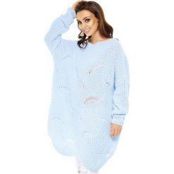 Gruby sweter oversize ls209. Niebieskie kardigany damskie marki SaF, na co dzień, xl, z żakardem, z asymetrycznym kołnierzem, dopasowane. Za 99,00 zł.