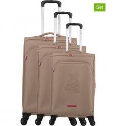"""Walizki (3 szt.) """"Teddy Bear"""" w kolorze brązowym. Czarne walizki marki Jack Wolfskin, w paski, z materiału, małe. W wyprzedaży za 673,95 zł."""