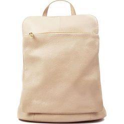 Plecaki damskie: Skórzany plecak w kolorze beżowym – (S)36 x (W)30 x (G)13 cm