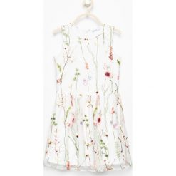 Sukienki dziewczęce z falbanami: Sukienka z kwiatowym haftem - Biały