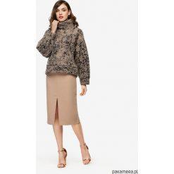 Spódnica ołówkowa z rozcięciem beżowa. Brązowe spódnice wieczorowe Pakamera, ołówkowe. Za 248,00 zł.